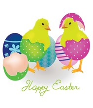 Two Chicken Coming From Easter Eggs, Vector