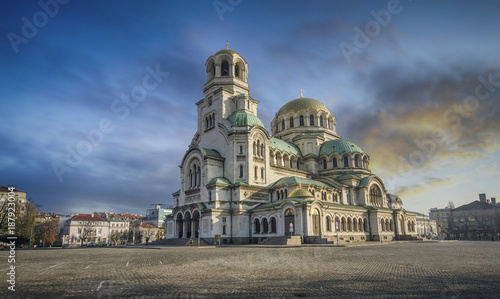 Cathedral Alexander Nevsky in Sofia, Bulgaria at sunset