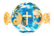 canvas print picture - Religions symbols around the Earth Globe, 3D rendering