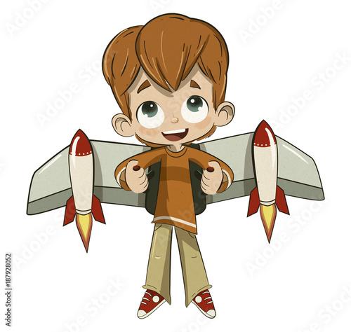 Niño volando con un cohete en la espalda Canvas Print