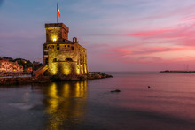Castle Of Rapallo At The Sunset