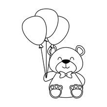 Cute Bear Teddy With Balloons ...