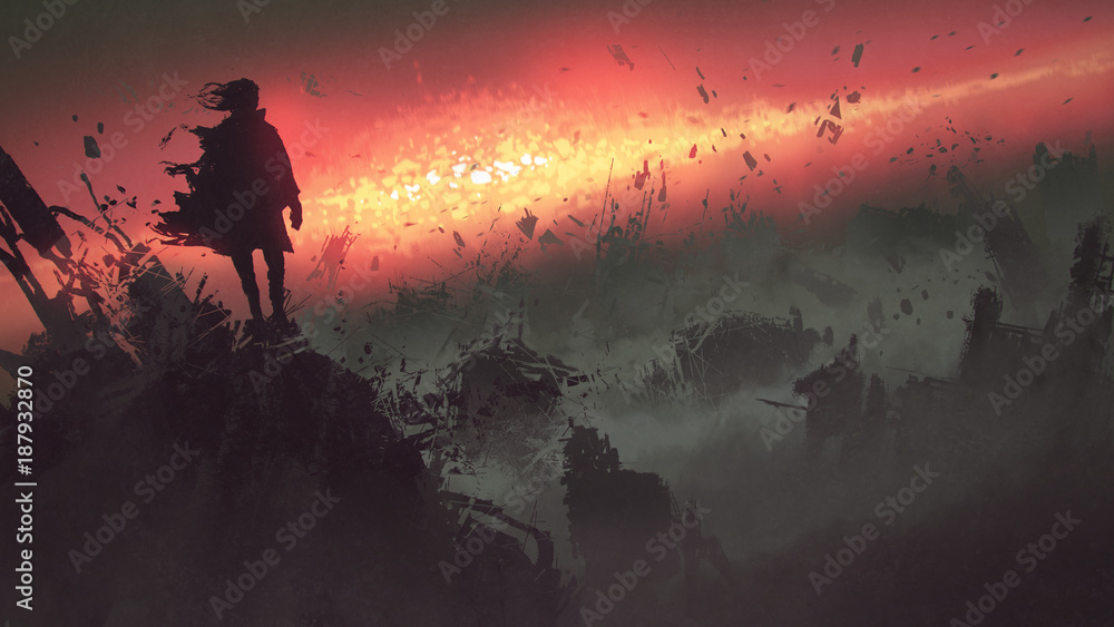 Fototapety, obrazy: end of the world concept of the man on ruined buildings looking at apocalyptic explosion on the earth, digital art style, illustration painting