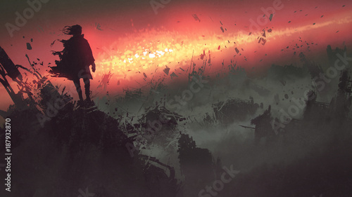 end of the world concept of the man on ruined buildings looking at apocalyptic explosion on the earth, digital art style, illustration painting