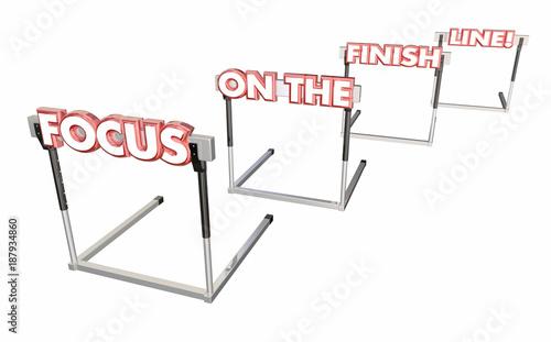 Fotografie, Obraz  Focus on the Finish Line Hurdles End is Near 3d Illustration