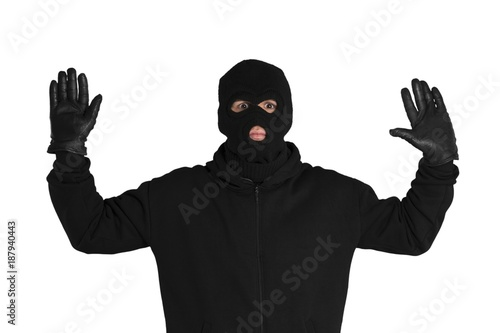 Portrait of a Scared Thief with Raised Arms Fototapet