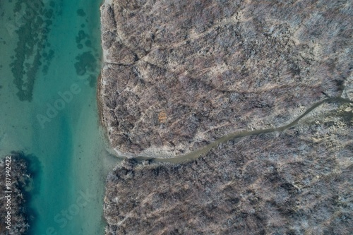 Foto op Aluminium Rivier Aerial of rocky coast and river