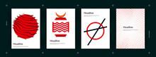 Japanese Food Restaurant Menu Abstract Poster Template. Chopsticks And Samurai. Branding. Vector Design.
