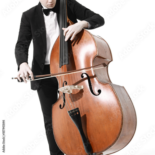 Papiers peints Musique Double bass player. Hands playing contrabass