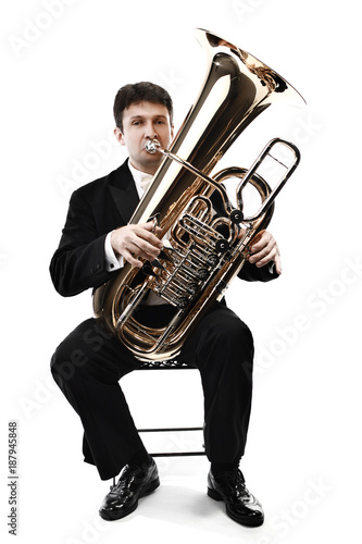 Door stickers Music Tuba brass instrument. Wind classical musician isolated