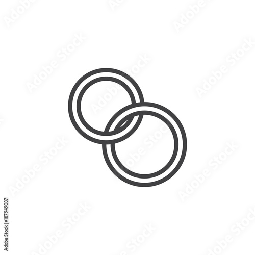 Wedding Rings Line Icon Outline Vector Sign Linear Style Pictogram