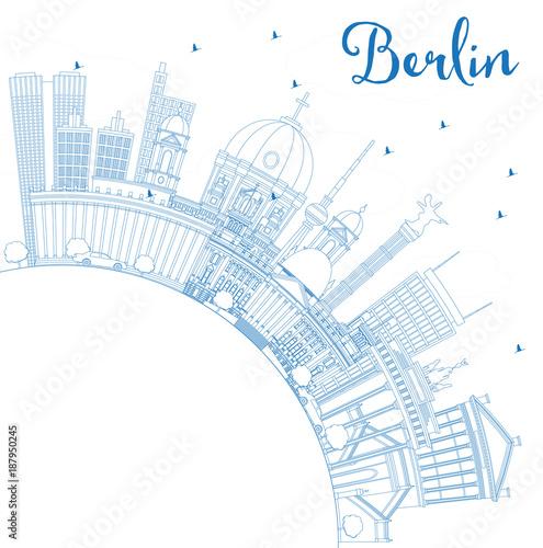 Staande foto Schilderingen Outline Berlin Germany City Skyline with Blue Buildings and Copy Space.