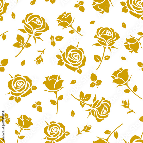 Seamless Pattern With Yellow Rose Silhouette On White