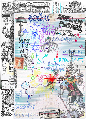 Poster Imagination Background with alchemic draws and tarots