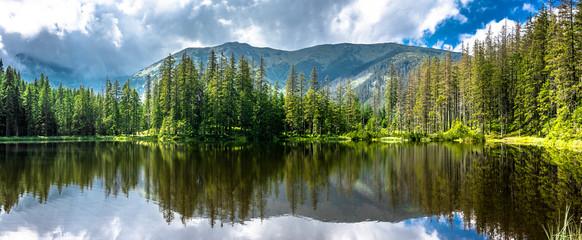 Fototapeta Popularne Panorama of mountain lake in Tatra Mountains, National Park in Poland, summer landscape