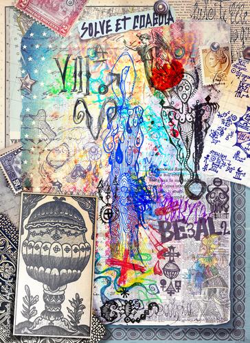 Poster Imagination Graffiti,disegni,manoscritti e collage con simboli alchemici,astrologici,chimici ed esoterici