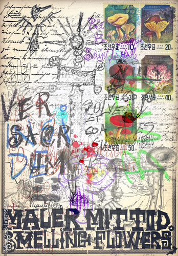 Foto op Aluminium Imagination Mysterious old manuscript with sketches and draws