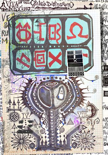 Poster Imagination Misteriosi collage con schizzi,manoscritti,disegni,simboli esoterici,astrologicici e alchemici