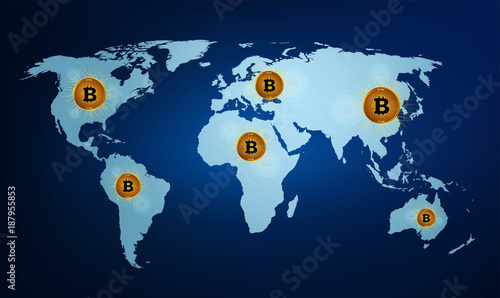 Digital currency bitcoin on the world map. Digital money ...