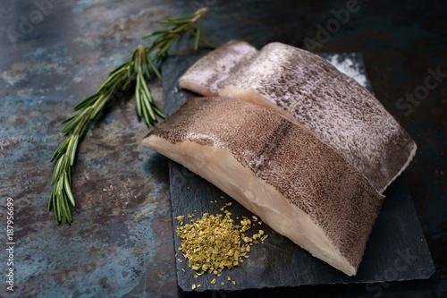 two fresh steak, raw halibut in the stone Fototapeta