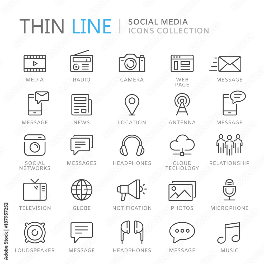 Fototapety, obrazy: Collection of social media thin line icons
