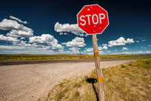 Stop Sign On Empty Highway In ...