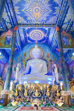 Very Beautiful Buddha Image In The Chapel Of Wat Rong Sua Ten Or Rong Sua Ten Temple. This Place Is The Popular Attraction For Chiang Rai Trip.