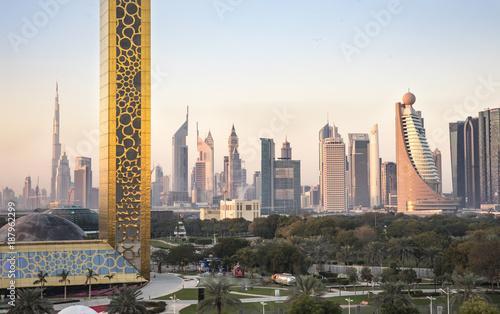 Obraz na plátně  Dubai skyline at sunrise
