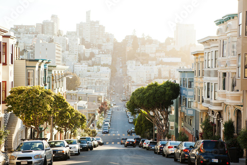 Tuinposter San Francisco The view on street from the hill in San-Francisco.