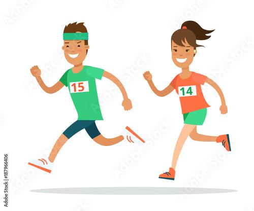 Fotografía Flat Athlete running runner vector. Man woman jogging marathon