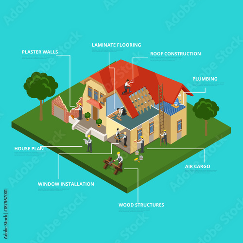 House Construction Flat Vector Isometric Project Repair Worker