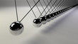 canvas print picture - cause and effect concept, infinity steel Newton's cradle on a white background