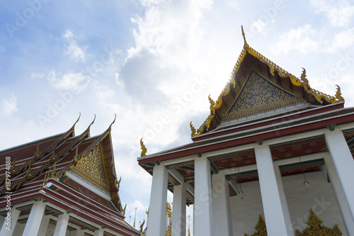 Poster Temple Wat Ratchanatdaram Woravihara temple in Bangkok, Thailand