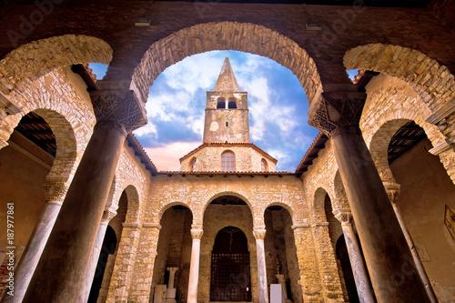 Euphrasian Basilica in Porec arcades and tower view Canvas Print