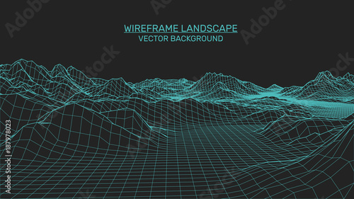 Fotobehang Grijze traf. Abstract landscape background. Mesh structure. Polygonal wireframe background. 3d technology vector illustration
