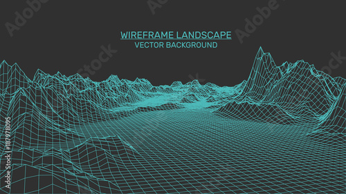 Abstract landscape background. Mesh structure. Polygonal wireframe background. 3d technology vector illustration