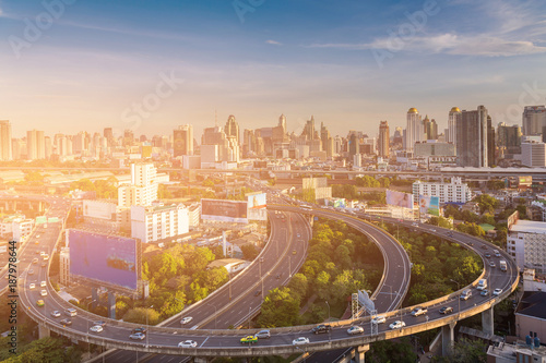 Highway intersection with city business downtown, cityscape background, Bangkok Poster