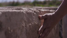 Hand Touch Stone Wall. Hand Ma...