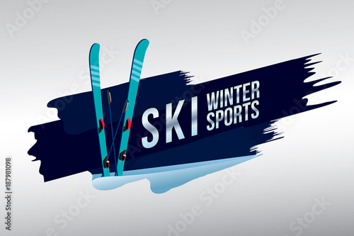 fototapeta na szkło Vector of ski badge design.