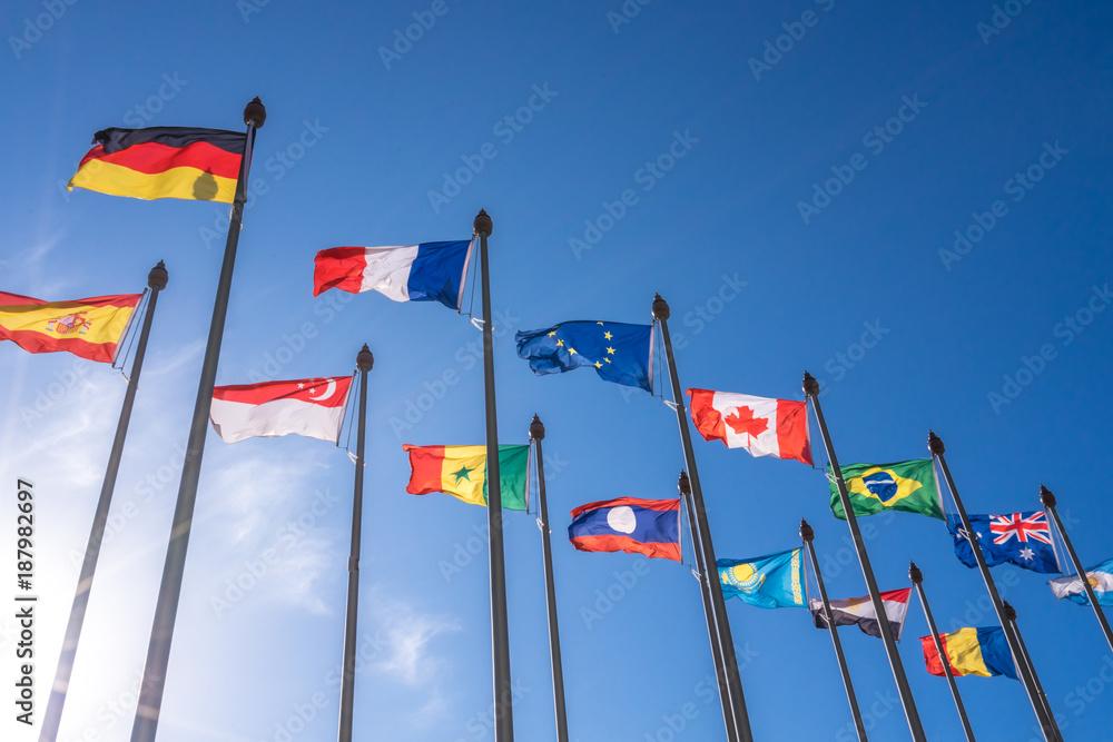 Fototapety, obrazy: lot of nation flag in suny day