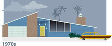 Exterior Of 1970s Modern Suburban Home With A Station Wagon In Front Of It, EPS 8 Vector Illustration