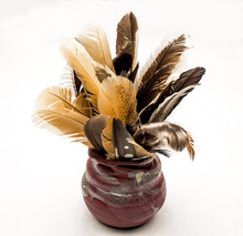 Clay Jar Full Of Feathers