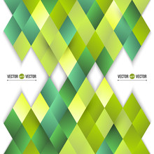 Vector Abstract Background Of Yellow And Green Diamonds