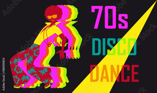 70s style disco dance poster with a dancing stylish guy, EPS 8 vector illustrati Poster Mural XXL
