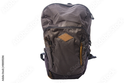 Obraz Gray backpack hiking bag isolated on white background. - fototapety do salonu
