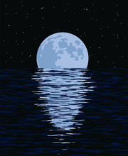 Vector Background Of Sea And Full Moon At Night