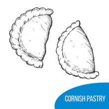 Cornish Pasty Sketch Vector Illustration. Engraved Hand Drawn Vintage Image.