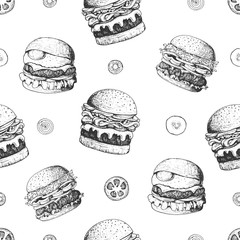 Fototapeta Do baru Burgers seamless pattern. Hand drawn vector illustration. Fast food, junk food pattern. American food. Burgers restaurant menu design. Engraved style image.