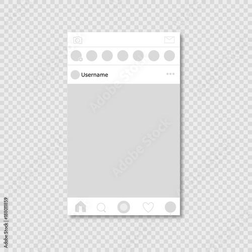 Fototapeta Social network page on transparent background with shadow obraz na płótnie