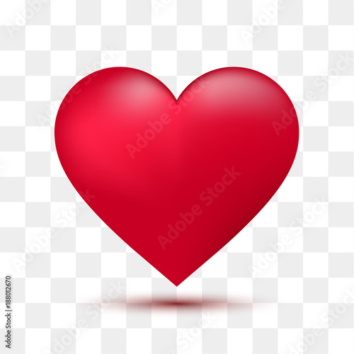 Fotografie, Obraz  Soft red heart with transparent background. Vector illustration